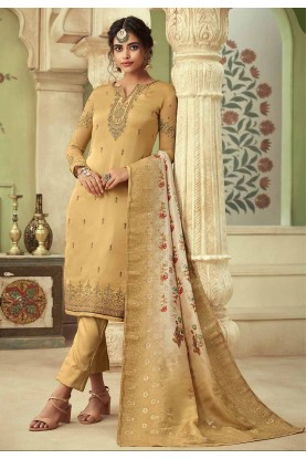 Golden Colour Women Salwar Suit.