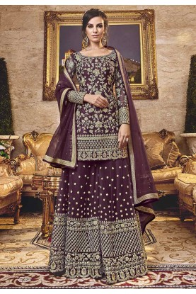 Brown Colour Net Salwar Kameez.