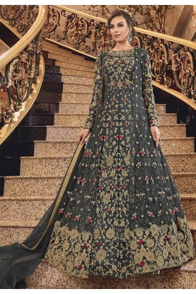 Black Colour Anarkali Salwar Kameez.