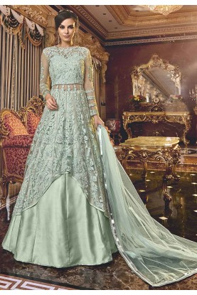 Anarkali Salwar Kameez Sea Green Colour.