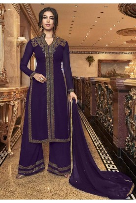 Purple Colour Georgette Salwar Suit.