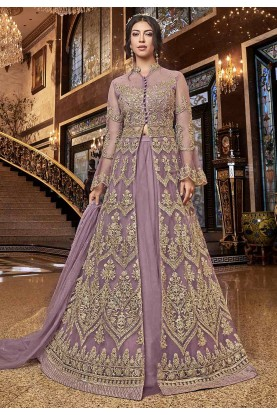 Purple Colour Net Anarkali Salwar Kameez.