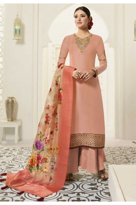 Peach Colour Palazzo Salwar Suit.