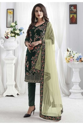 Green Colour Velvet Salwar Suit.