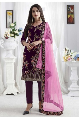 Party Wear Salwar Suit Purple Colour.