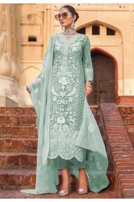 Sea Green Colour Net Salwar Kameez.