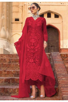 Red Colour Indian Designer Salwar Kameez.