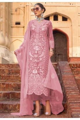 Party Wear Salwar Kameez Pink Colour.