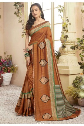 Orange Colour Chanderi Silk Sari.