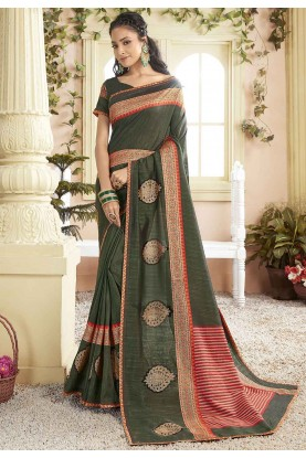 Green Colour Printed Saree.