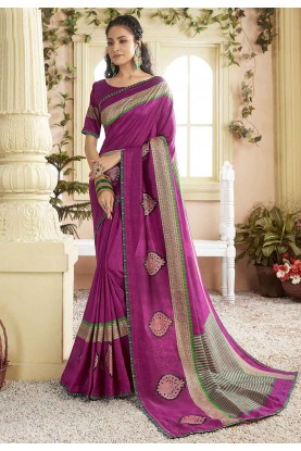Rani Pink Colour Designer Saree.