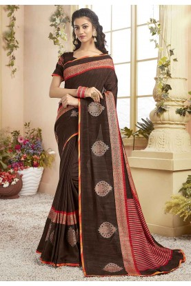 Brown Colour Chanderi Silk Saree.