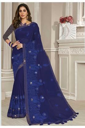 Blue Colour Georgette Party Wear Sari.