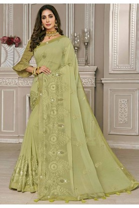 Sea Green Colour Embroidery Saree.