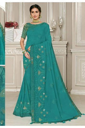 Georgette Saree Teal Green Colour.