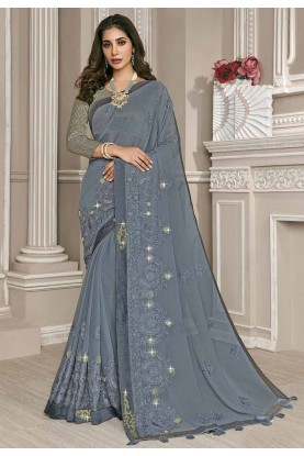 Grey Colour Embroidery Saree.