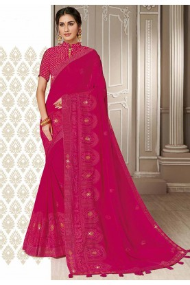 Designer Saree Pink Colour.