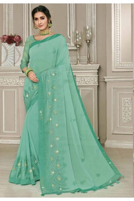 Sea Green Colour Georgette Sari.