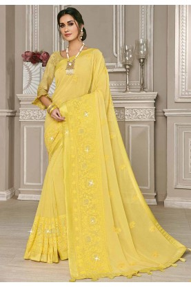 Yellow Colour Indian Saree.