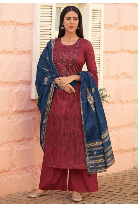 Party Wear Salwar Kameez Maroon Colour.