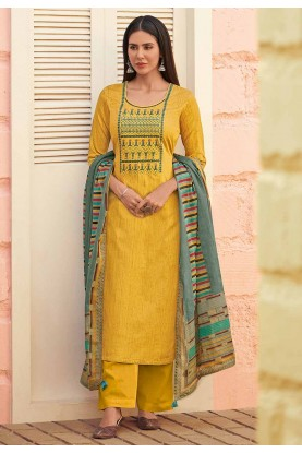 Yellow Colour Cotton Salwar Suit.