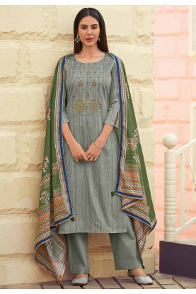 Grey Colour Cotton Salwar Suit.