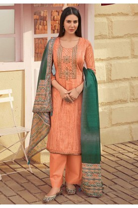 Peach Colour Women's Salwar Suit.
