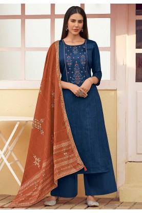 Party Wear Salwar Suit Blue Colour.