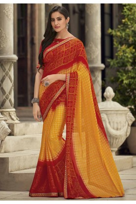 Red,Yellow Colour Printed Bandhej Saree.