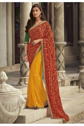 Red,Yellow Colour Bandhej Saree.