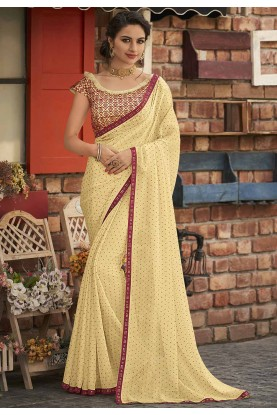 Yellow Colour Party Wear Sari.