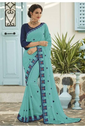 Turquoise Colour Embroidery Saree.