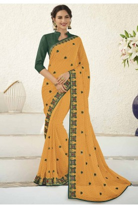 Mustard Colour Designer Saree.