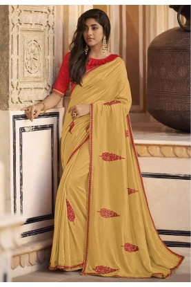 Lemon Colour Silk Designer Sari.