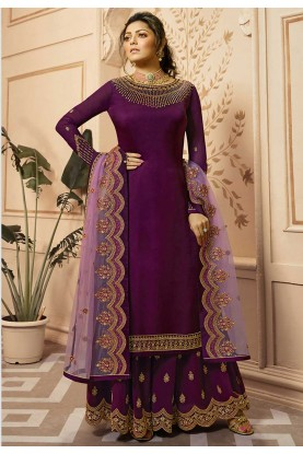 Wine,Purple Colour Indian Designer Salwar Suit.