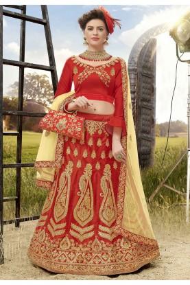Red Colour Wedding Lehenga Choli.