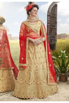 Beige Colour Indian Lehenga Choli.