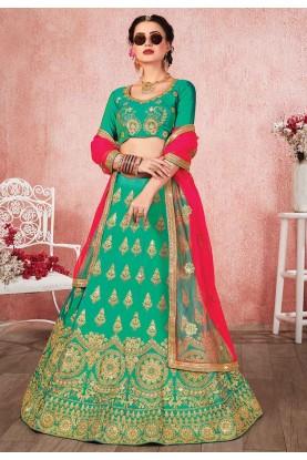 Green Colour Silk Designer Lehenga.