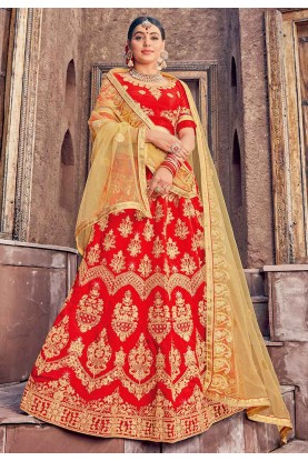 Red Colour Indian Wedding Lehenga Choli.