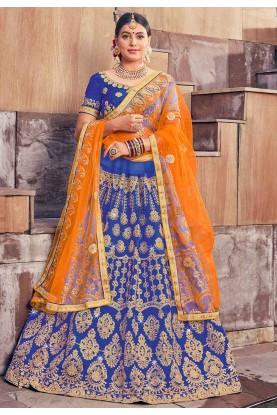 Blue Colour Silk Lehenga Choli.