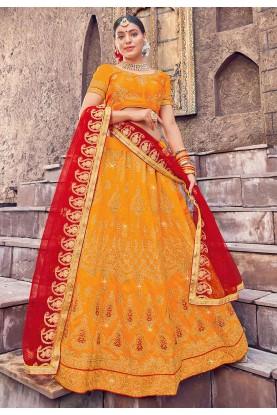 Orange Colour Indian Traditional Lehenga.