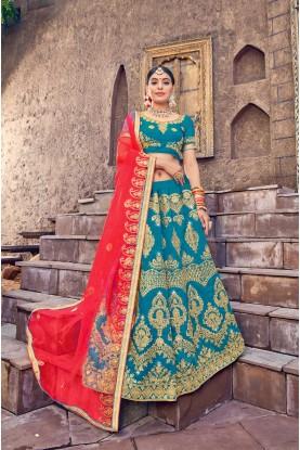 Blue Colour Lehenga Choli.