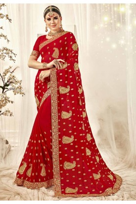 Red Colour Indian Designer Saree.
