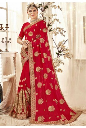 Red Colour Designer Georgette Saree.