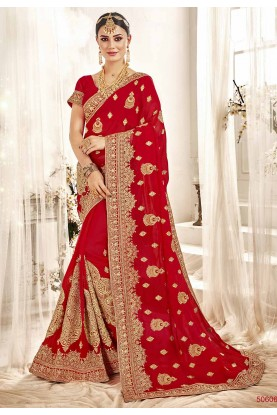 Embroidered Saree Red Colour.