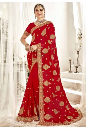 Red Colour Indian Saree.