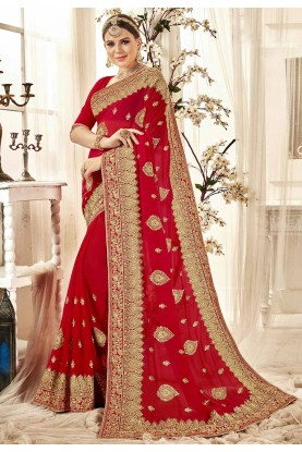Designer Saree Red Colour.