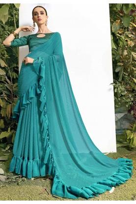 Sea Green Colour Fancy Saree.