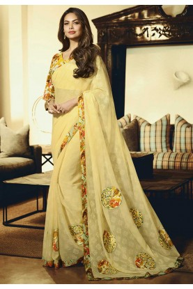 Yellow Colour Printed Designer Sari.