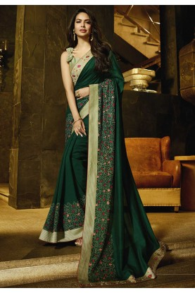 Green Colour Indian Designer Saree.